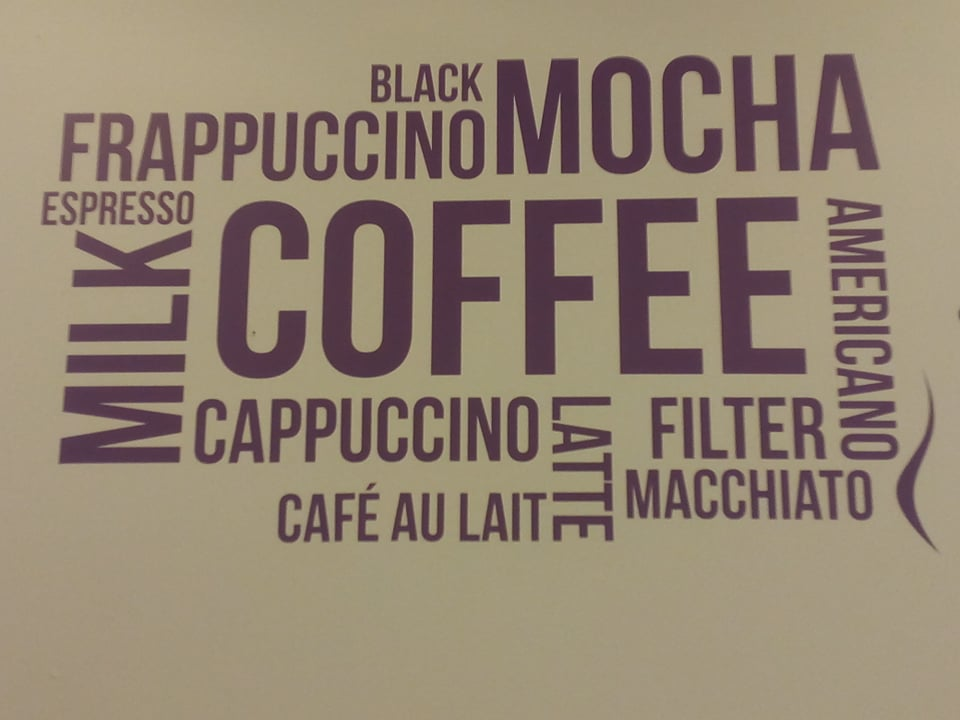 sign with different words for coffee