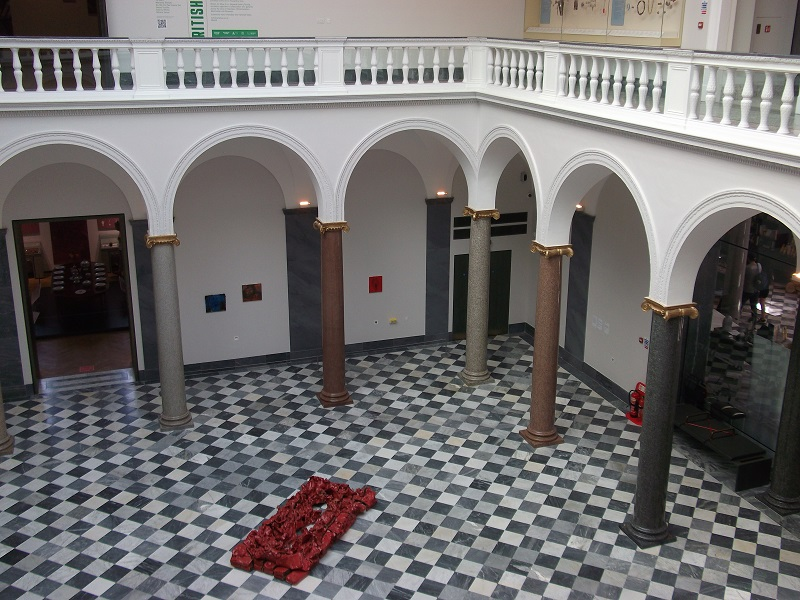 Entrance level of Aberdeen Art Gallery with marble floor and granite pillars